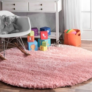 Silver Orchid Rita Soft and Plush Cloudy Solid Shag Baby Pink Round Rug (5'3 Round)