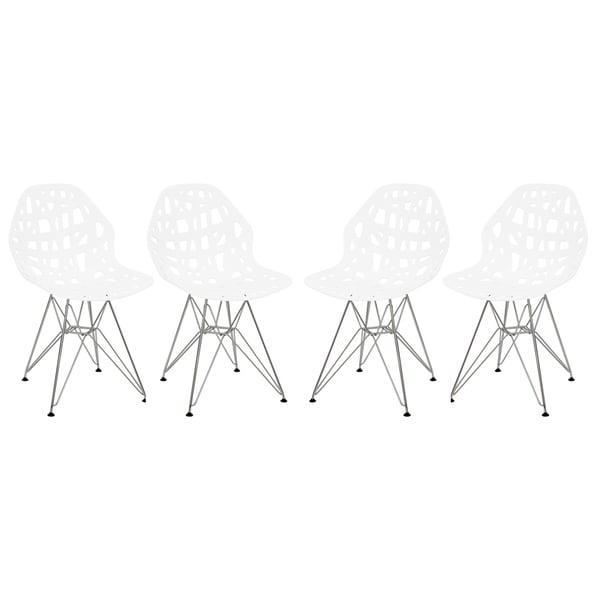Fine Shop Leisuremod Akron Chrome Eiffel Base White Dining Side Beatyapartments Chair Design Images Beatyapartmentscom