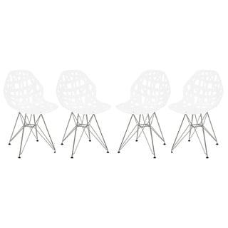 LeisureMod Akron Chrome Eiffel Base White Dining Side Chair Set of 4