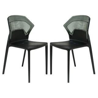 LeisureMod Walton Black Polycarbonate 2-tone Dining Chair (Set of 2)