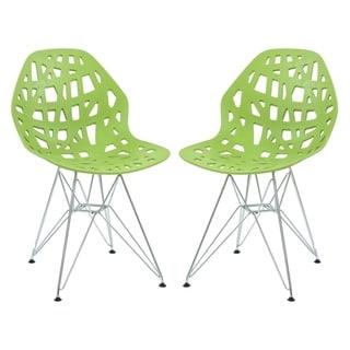 LeisureMod Akron Chrome Eiffel Base Green Dining Side Chair Set of 2