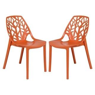 LeisureMod Modern Cornelia Orange Dining Chair (Set of 2)