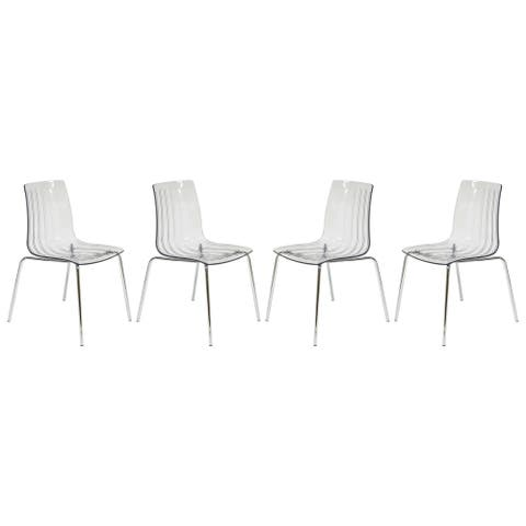 LeisureMod Ralph Mid-Century Modern Clear Dining Side Chair Set of 4