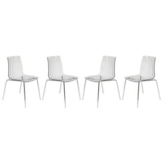 Link to LeisureMod Ralph Mid-Century Modern Clear Dining Side Chair Set of 4 Similar Items in Dining Room & Bar Furniture