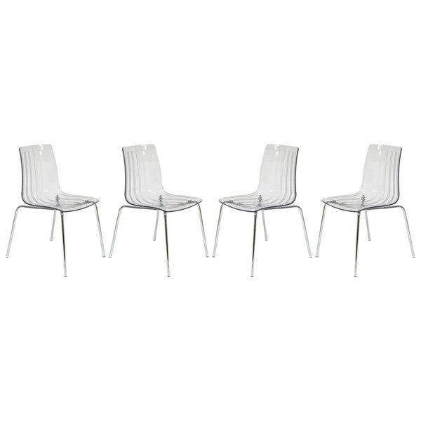 LeisureMod Ralph Mid-Century Modern Clear Dining Side Chair Set of 4. Opens flyout.