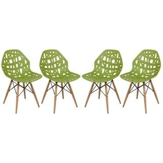 LeisureMod Akron Green Dining Side Chair W/ Dowel Eiffel Base Set of 4