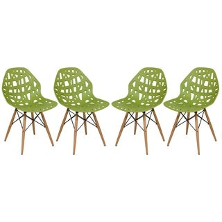 LeisureMod Akron Green Side Chair with Wood Dowel Legs (Set of 4)