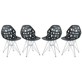LeisureMod Akron Chrome Eiffel Base Black Dining Side Chair Set of 4