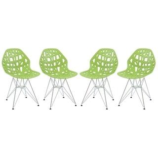 LeisureMod Akron Chrome Eiffel Base Green Dining Side Chair Set of 4