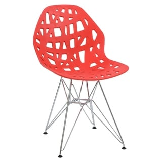 LeisureMod Akron Chrome Eiffel Base Red Dining Side Chair