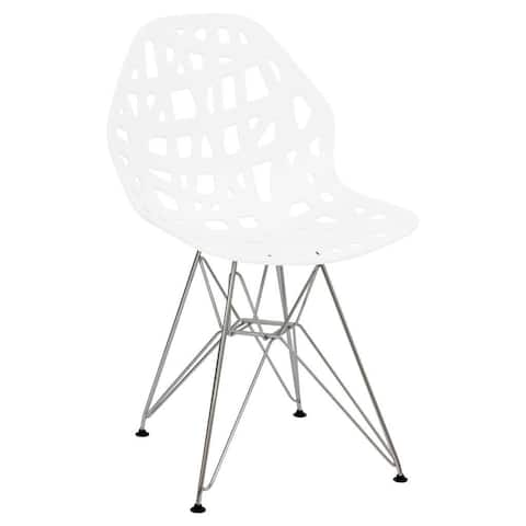 LeisureMod Akron Chrome Eiffel Base White Dining Side Chair
