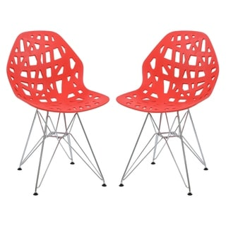 LeisureMod Akron Chrome Eiffel Base Red Dining Side Chair Set of 2