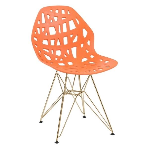 LeisureMod Akron Orange Dining Side Chair W/ Gold Eiffel Legs - N/A