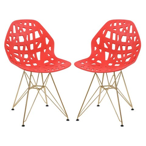 LeisureMod Akron Red Dining Side Chair W/ Gold Eiffel Legs Set of 2