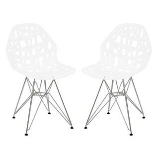 LeisureMod Akron Chrome Eiffel Base White Dining Side Chair Set of 2