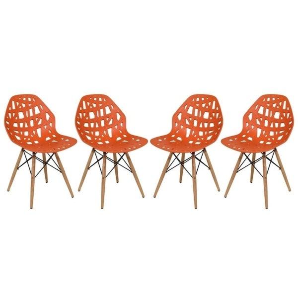 LeisureMod Akron Orange Dining Side Chair Dowel Eiffel Base Set of 4