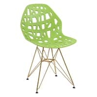 LeisureMod Akron Green Side Chair with Gold Legs