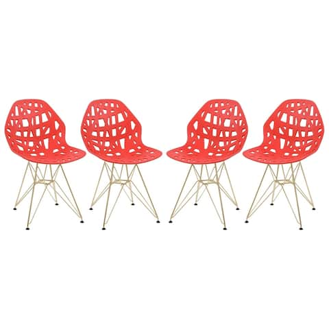 LeisureMod Akron Red Dining Side Chair W/ Gold Eiffel Legs Set of 4
