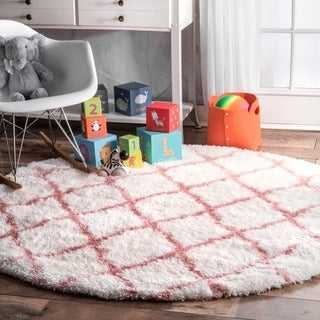 nuLOOM Soft and Plush Cloudy Shag Trellis Kids Nursery Baby Pink Round Rug (5'3 Round)