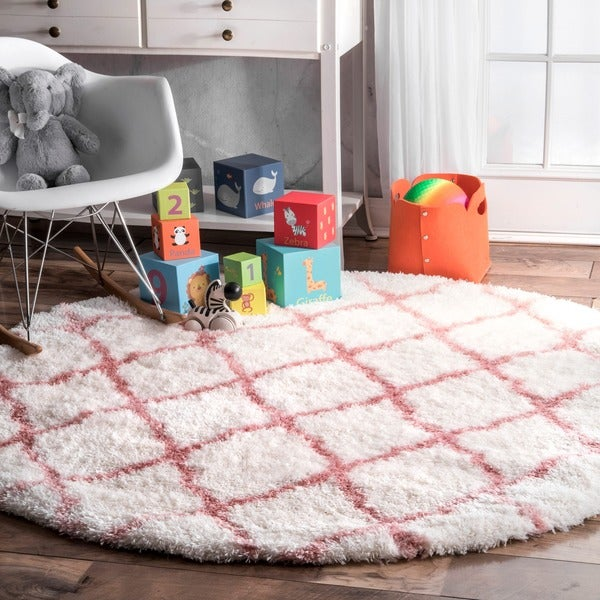 Nuloom Baby Pink Soft And Plush Cloudy Trellis Kids Nursery Round Area Rug 5