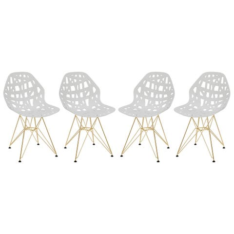 LeisureMod Akron White Dining Side Chair W/ Gold Eiffel Legs Set of 4