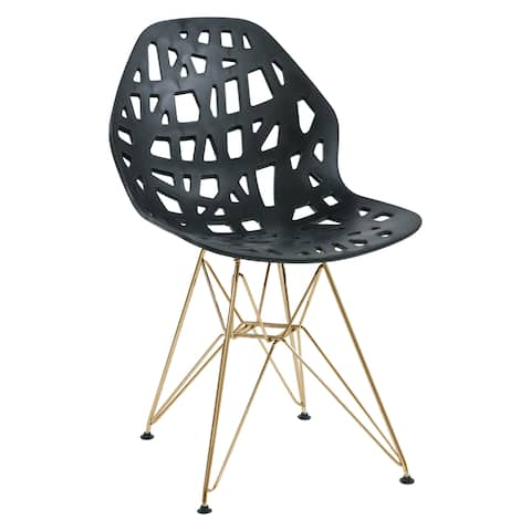 LeisureMod Akron Black Dining Side Chair W/ Gold Eiffel Legs - N/A