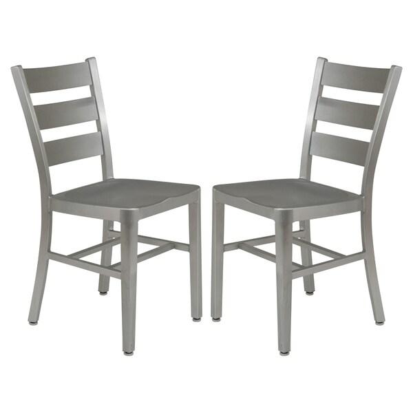 LeisureMod Delmar Modern Aluminum Brushed Side Dining Chair (Set Of 2)   N/