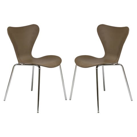 LeisureMod Oyster Modern Taupe Dining Side Chair Chrome Base Set of 2