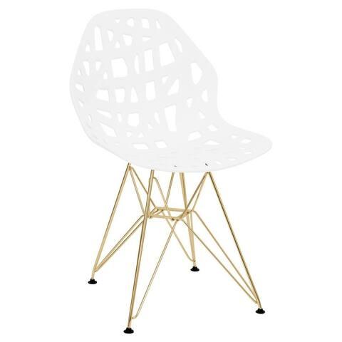 LeisureMod Akron White Dining Side Chair W/ Gold Eiffel Legs