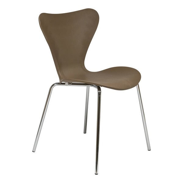 LeisureMod Oyster Modern Taupe Dining Side Chair with Chrome Base. Opens flyout.