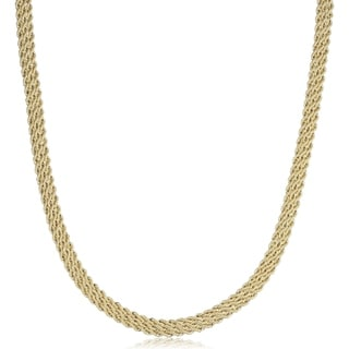 Fremada 14k Yellow Gold Triple Row Semi Solid Rope Necklace 18 Inches