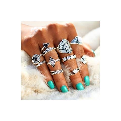 Linel Ring Set Silver Bohemian Leaf Arrow 10 Piece Ring Set