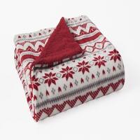 Plush Velvet Printed Reversible Sherpa Throw