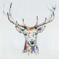 32 X 32 Color Deer Collection III Oil Painting Wall Decor