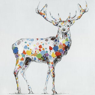 32 X 32 Color Deer Collection I Oil Painting Wall Decor