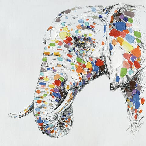 32 X 32 Color Elephant Oil Painting Wall Decor