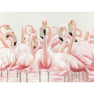 Jeco 'Pink Egret' Oil Painting Wall Decor