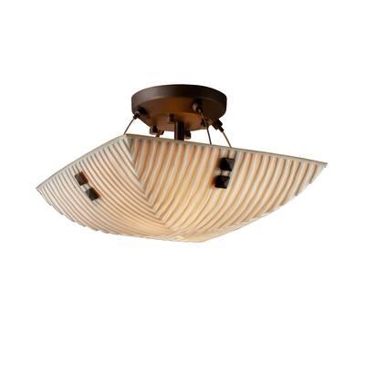Justice Design Porcelina Finials Dark Bronze 2-light Semi-flush