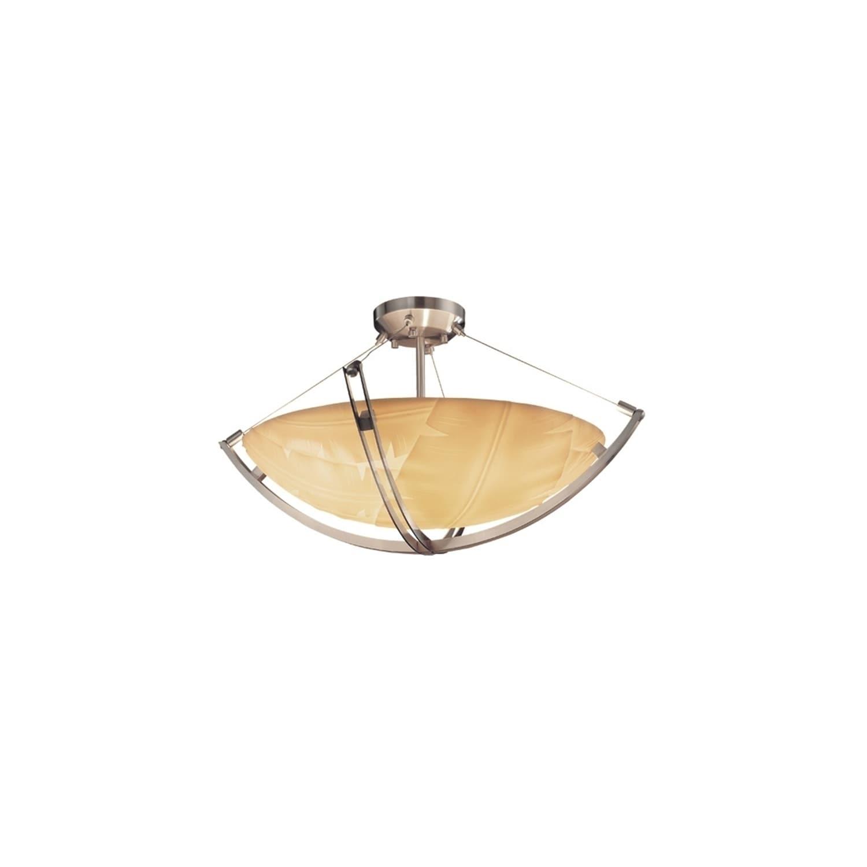 Justice Design Porcelina Crossbar Brushed Nickel 6 Light Semi Flush Banana Leaf Round Bowl Shade Silver Overstock 17834520