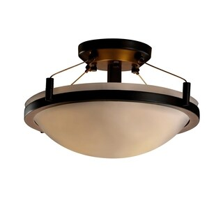 Justice Design Porcelina Ring Dark Bronze 2-light Semi-flush, Smooth Round BowlShade