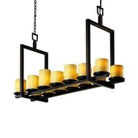 Justice Design CandleAria Dakota Dark Bronze 14-light Chandelier, Short Amber Cylinder with Flat Rim Shade