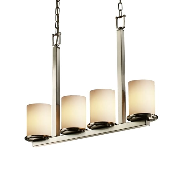 Justice Design Fusion Dakota Brushed Nickel 4-light Chandelier, Opal Cylinder with Flat Rim Shade