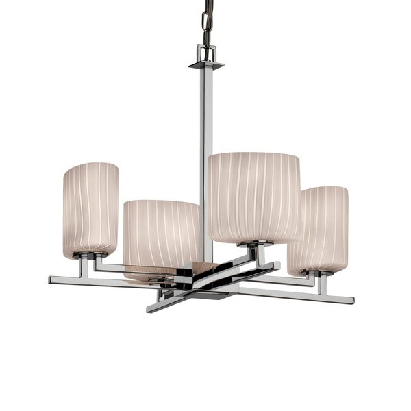 Justice Design Fusion Aero Polished Chrome 4-light Chandelier, Ribbon Oval Shade