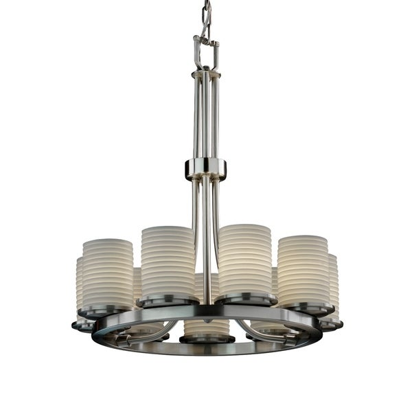 Justice Design Limoges Dakota Brushed Nickel 9-light Chandelier, Sawtooth Cylinder with Flat Rim Shade