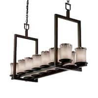 Justice Design Veneto Luce Dakota Dark Bronze 14-light Chandelier, Short White Frosted Cylinder with Rippled Rim Shade