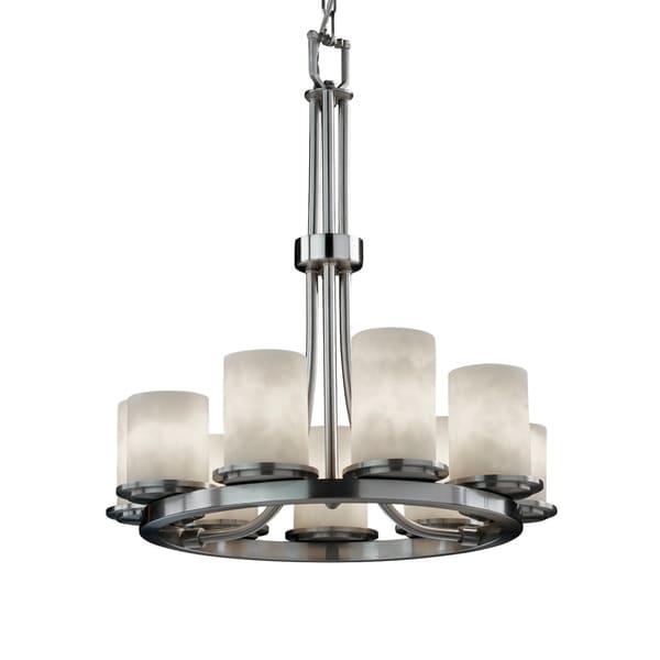 Justice Design Clouds Dakota Brushed Nickel 9-light Chandelier, Clouds Cylinder with Flat Rim Shade