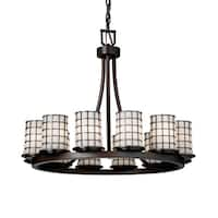 Justice Design Wire Glass Dakota Dark Bronze 12-light Chandelier, Opal Cylinder Shade with Flat Rim and Grid Cage