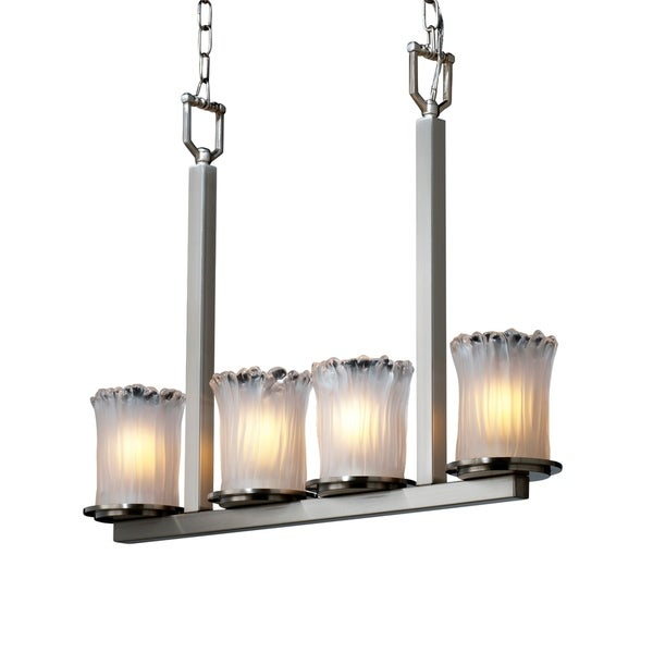Justice Design Veneto Luce Dakota Brushed Nickel 4-light Chandelier, White Frosted Cylinder with Rippled Rim Shade