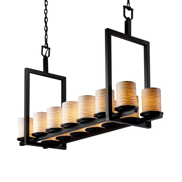 Justice Design Limoges Dakota Matte Black 14-light 27 inch Chandelier, Waves Cylinder with Flat Rim Shade