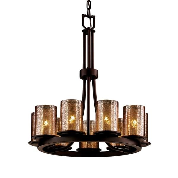 Justice Design Fusion Dakota Dark Bronze 9-light Chandelier, Mercury Glass Cylinder with Flat Rim Shade